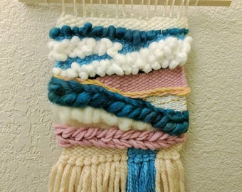 Rolling Nimbus Tapestry Weave/ woven textile/ wall art/ wall hanging/ white, cream, blue, pink