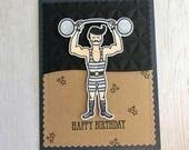 Happy birthday, tough guy! Men's birthday card, gym, weightlifter, crossfit, dapper, One of a Kind birthday card