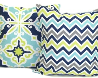 PILLOWS. Blue Green Gray SET of TWO.Blue Green Decorative Pillow Covers.Housewares.Home Decor.Floral.Geometric.Chevron.Blue Green Pillows.Cm