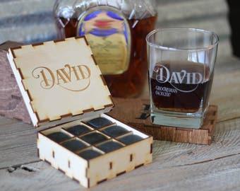 Whiskey Stones Gift Box Set Whiskey Rocks Glass Gift Box Set Scotch Lover Gift Groomsmen Gift Set Best Man Gift Idea