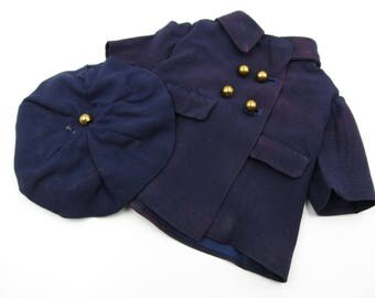 Vintage Handmade Doll Clothes, 1940s Navy Pea Coat and Matching Hat,  Vintage Handmade Doll Clothes, Vintage Doll and Clothes Collectors