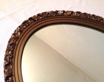 """Large 27"""" Bronze Gold Gilt Plastic Framed Hollywood Regency Vintage Oval Mirror"""