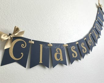 Class of 2017 Graduation Banner in Navy Blue and Gold.  Graduation Party Decorations.  Customize your Colors!