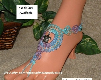 Crochet Barefoot Sandals with TURTLE Charms in Ocean Colors Toe Ring Ankle Sandles for Beach Wedding