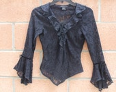 Black lace peasant top size small