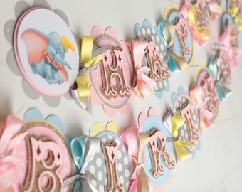 Dumbo Happy Birthday Banner,Dumbo Themed Birthday Party,Happy 1st Birthday,Dumbo decorations,Circus Themed Party, Circus Banner, Dumbo Baby