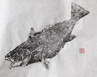 CROAKER / Red Fish (Ishi Mochi) Original Gyotaku - traditional Japanese fish art by dowaito (1)