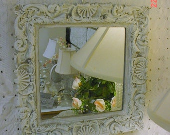 Handpainted Ornate Mirror Vintage Shells Scrolls French Cottage Shabby Chic