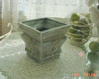 Vintage Pot Distressed Green Lions Head French Country Chic