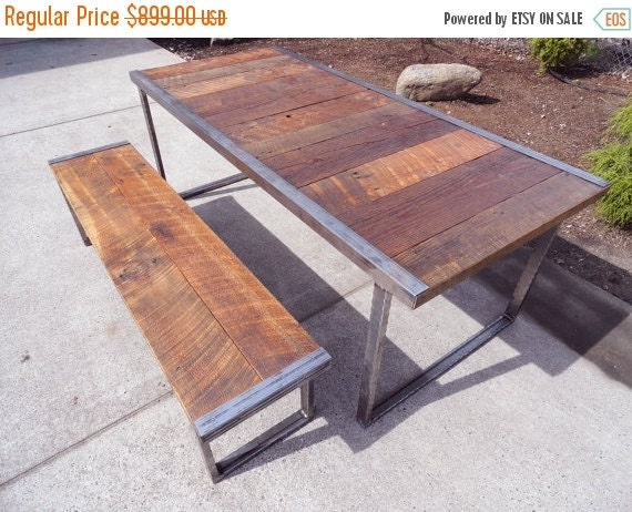 Limited time sale 10 off 7 ft industrial by mthoodwoodworks for 10 ft dining table sale