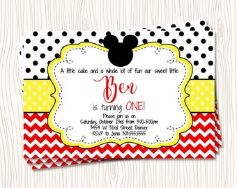 Custom Mickey Mouse - First 1st Red Black Yellow Polka Dot Birthday Party Invitation - Any Color