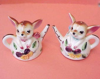 Darling Little Teapot Shaped Salt and Pepper Shakers with Little Deer and Pansies