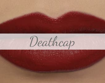 "Vegan Matte Lipstick Sample - ""Deathcap"" (deep true red natural lipstick with opaque coverage)"