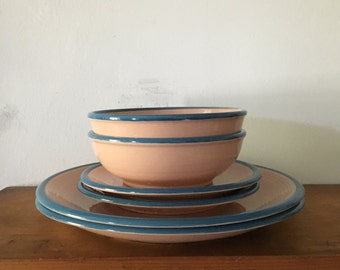 pastel pink set of two place settings. mid century blush pink plates and bowls vintage place setting