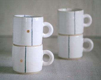 White Cappuccino Mug - White Minimalist Ceramic Mug