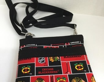 Chicago Blackhawks Purse - Cross Body Purse - City Purse - NHL Purse - NFL Purse - MLB Purse - Travel Bag - Zippered Wallet -