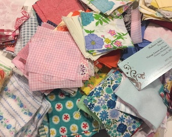Fabric Squares, 3 Inch Fabric Squares, Mixed Lot of 25 Quilt Fabric Squares by Marlenesattic