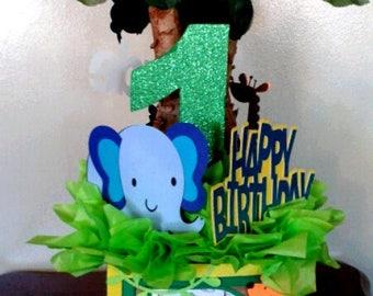 Jungle Safari Birthday Centerpiece Babyshower Centerpiece Giraffe Monkey Zebra Elephant