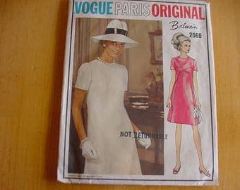 Vintage 1960s Vogue Paris Original Pattern 2060, Misses One Piece, High Fitted A Line Dress, Designer Balmain, Size 14, Bust 36