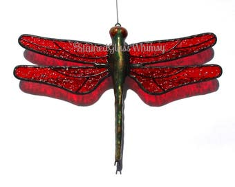 Stained Glass Red DRAGONFLY Suncatcher, Deep Ruby Red Wings & Handcast Metal Body, USA Handmade, Dragonfly Ornament, Ruby Red Dragonfly