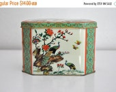 ON SALE Vintage Daher Birds Floral Tin Canister Long Island New York Made in England