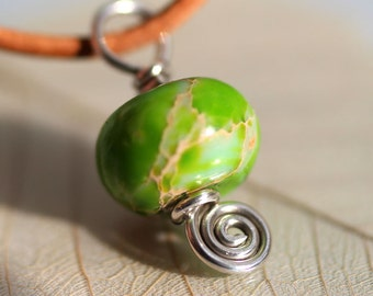 Sea Sediment Jasper Bead on Sterling Silver with Spiral Detail - Small Pendant or Bracelet Charm