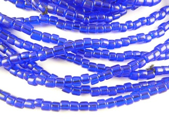 """24"""" flat end 5 x 5 mm cobalt indigo blue Czech African glass trade beads AA-0047"""