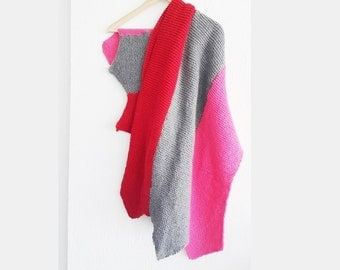 Gray Pink red Scarf Shawl ,Shawl Shoulder Wrap Shoulder Shawl Knitted Scarf Shawl, winter accessories,autumn,Poncho Scarf Shawl,