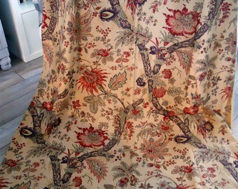 Indienne  antique French  cotton 19th-century for hanging, tablecloth, bedcover art textiles