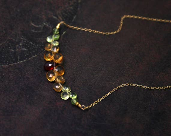 Bar Necklace. Citrine, Peridot and Garnet Necklace, Teardrop Cluster Necklace. Gemstone Jewelry. N-2352-G