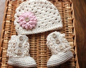 Baby Girl Clothes, Crochet Baby Girl Outfit, Baby Girl Coming Home Outfit, Baby Boots