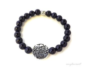 Purple Bracelet Gift for Her, Stretch Bracelet, Purple Stackable Bracelet, Bohemian Jewelry, Beaded Bracelet for Women, Summer Jewelry