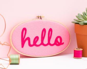 Hello pink on pink hoop wall art - Embroidery hoop art - textile art - Gift for friend - modern home decor - felt appliqué textile art