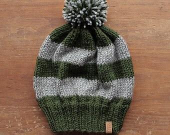 Slytherin Hat - Green & grey stripes with pom-pom