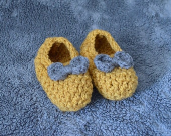 Toddler Mustard and Gray Crochet Slippers-house shoes