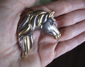 Horse Brooch / Pendant, Brass and Silver Toned, Horse Head, Flowing Mane
