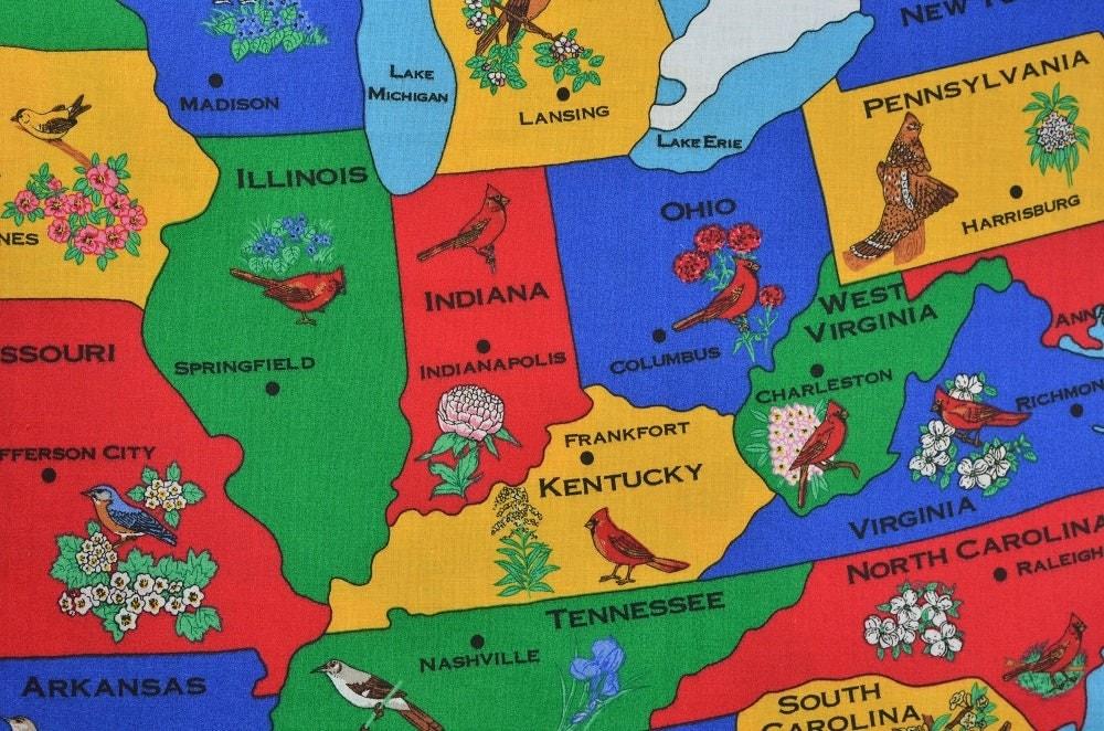 Large Map Panel Fabric United States Us Classroom