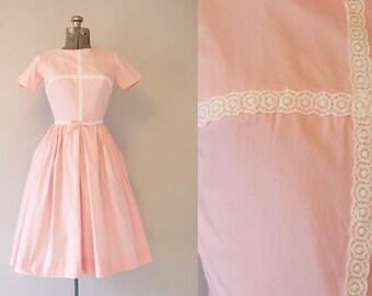 1950's Pink Cotton Dress / Size XSmall