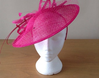 Large Fuschia Hot Pink Saucer Sinamay Fascinator Formal Hat, mother of the bride, Ascot, wedding,Kentucky Derby