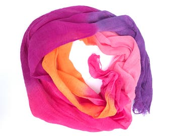 Hand Dyed Cotton Gauze Fabric - Handmade Fiber Art Supplies Fuchsia, Pink,Orange and Purple.