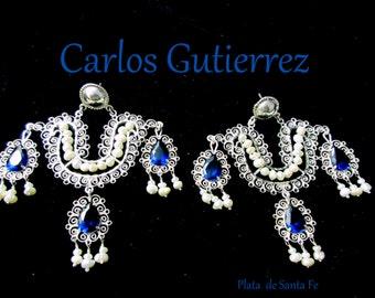 Oaxaca Artist+CARLOS GUTIERREZ+Kashmir Sapphire Glass & Pearls+Tehuana+Filigree+Earrings