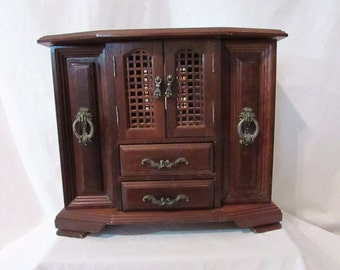 Vintage Large Wood Jewelry Case Lattice doors London Leather