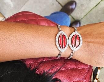 Silver Sparkly Enamelled A Kiss Bracelet, Love Jewelry, Valentine Jewelry, Kiss Jewelry