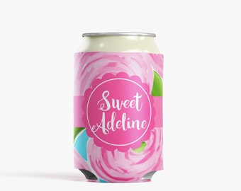 Personalized Can Insulator, DIY Custom Bottle Insulated Beverage Container, Roses