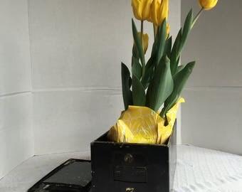 Safety Deposit Box / Vintage Black Lock Box / Vintage Home Decor