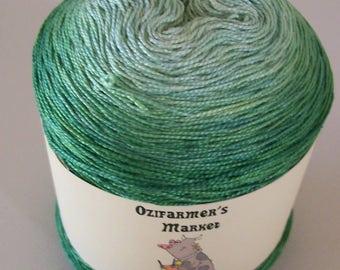 Cherish.  Gradient hand-dyed  laceweight cotton. 100gm. Grass