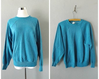 turquoise raglan sleeve shirt | vintage 80s pullover jumper mens womens oversize baggy sweatshirt size m/l medium large hipster boho 1980s