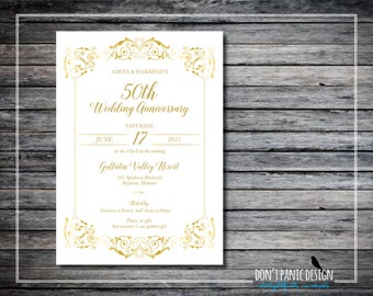 Gold Printable Anniversary Invitation - 50th Wedding Anniversary Invitation - Elegant Gold Birthday Invitation, Vow Renewal Invitation
