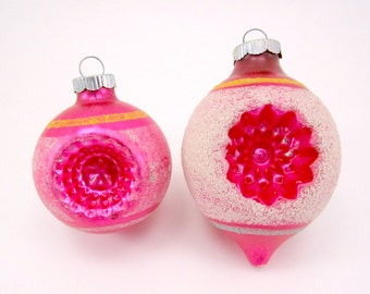 Shiny Brite Christmas Ornaments 1950s Vintage Mold Blown Glass Double Indented Pink Christmas Decorations Holiday Baubles