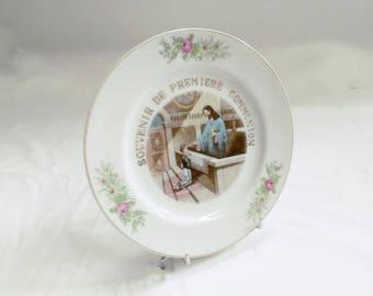 Vintage French Porcelain 1st Communion plate (v847)